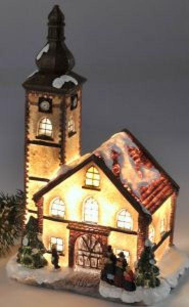 deko kirche verschneit beleuchtet winter advent. Black Bedroom Furniture Sets. Home Design Ideas