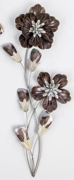 Wanddeko blumen in braun aus metall 68 cm may dekoland for Blumen aus rostigem metall