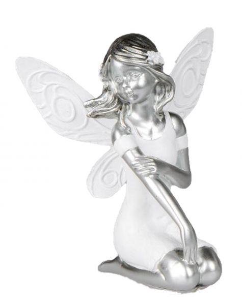 Edle Dekofigur Elfe Kniend In Weiß Silber 11 Cm May Dekoland
