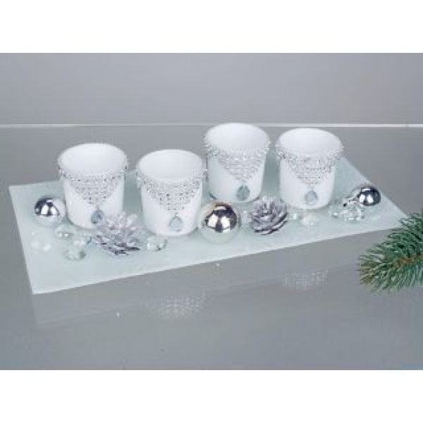 teelichthalter set glas wei rechteckig winter advent. Black Bedroom Furniture Sets. Home Design Ideas