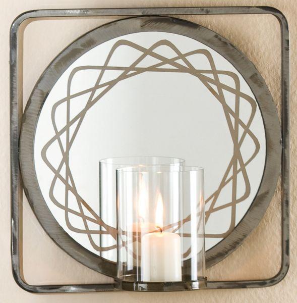 dekorativer kerzenhalter als wandleuchter mit spiegel 26 x 26 cm ebay. Black Bedroom Furniture Sets. Home Design Ideas