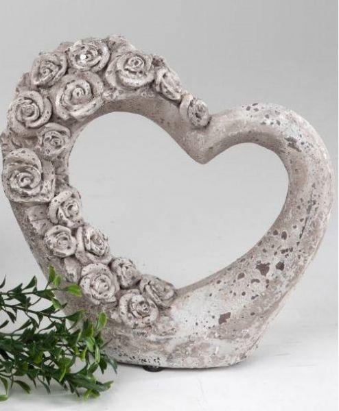 Gartendeko Herz Mit Rosenrelief 20 Cm May Dekoland